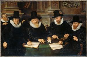 Vier regenten en de binnenvader van het Leprozenhuis te Amsterdam, op de achtergrond taferelen uit het verhaal van Lazarus (Luk 16: 19-31)
