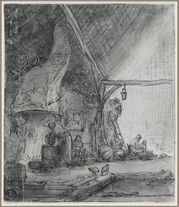 Boerderij-interieur met figuren