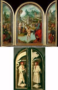 Drieluik met de genezing van Naäman  (2 Koningen 5); Elisa weigert de geschenken (2 Koningen 5: 15-16)  en Gechazi voor Naäman en de HH. Cosmas en Damianus
