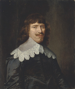 Portret van een man in een zwarte wambuis en een kanten kraag