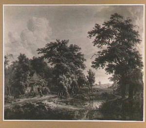 Boerderijen in een boslandschap