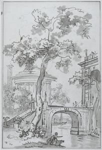 Parklandschap met een tempel en paleis aan een kanaal