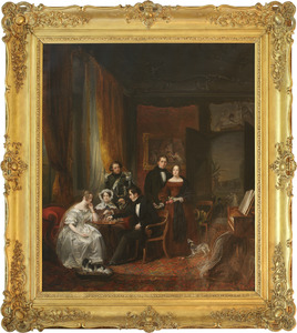 Groepsportret van A. J. Duymaer van Twist schakend met zijn (aanstaande) vrouw temidden van haar familie op Huize Westervoorde in Olst