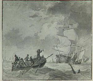Schepen op woelige zee, op de voorgrond een roeiboot met figuren