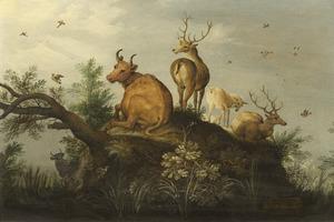 Landschap met rustende herten en een koe op een heuveltje