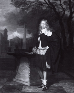 Portret van een jonge man op een terras