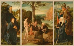 De H. Antonius Abt met stichter (binnenzijde linkerluik), verzoeking van de H. Antonius (middenpaneel), de H. Donatius (?) met stichtster (binnenzijde rechterluik)