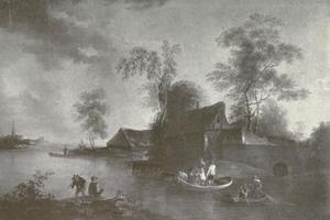 Hollands dorp aan een rivier