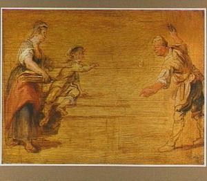 Studie van een keukenmeid, een jongen en slager bij een tafel