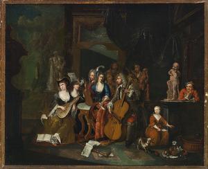 Interieur met musicerend gezelschap