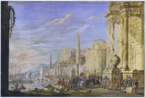 Romeins fantasielandschap  met haven en optocht