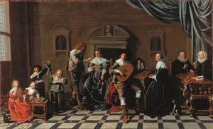 Familieportret van Maerten Ruychaver (1540-1626) en Alida van der Laen (1542-1626), met hun ouders en nakomelingen