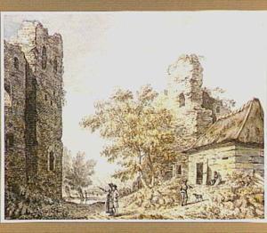 Ruïne van kasteel Brederode vanuit het zuiden, rechts van het midden het poortgebouw