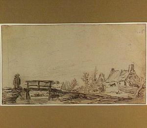 Landschap met figuren bij een houten burg en boerderijen