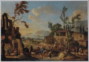 Gezicht in een zuidelijk dorp met herders met hun vee bij een drenkplaats