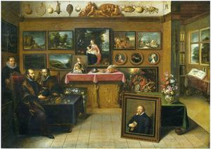 Interieur van een kunst- en rariteitenkabinet met Abraham Ortelius en Justus Lipsius