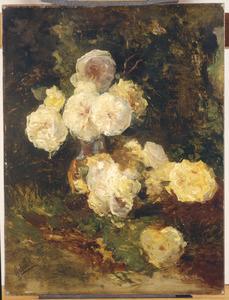 Stilleven met roze en gele rozen