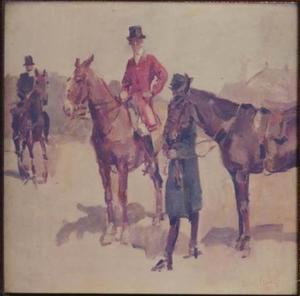 J.A. Star Busmann, reserve tweede luitenant 3de half-regiment Huzaren, gekleed in rode atilla en daarbij behorende lichtblauwe overjas, en M.M. Kwint, gekleed in rode jachtrok met hoge hoed op zijn paard Puiu