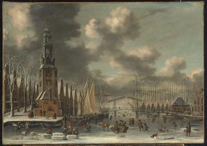 Wintergezicht in Amsterdam met de Montelbaanstoren, gezien vanaf de Scheepjesbrug over de Oude Schans