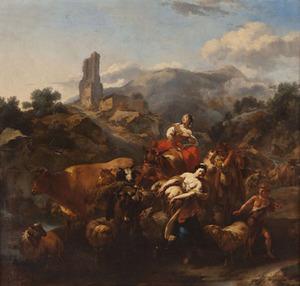 Zuidelijk landschap met herders en vee bij een doorwaadbare plaats, in de verte een vervallen toren