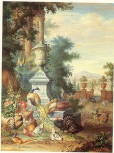 Parklandschap met pauwen, kalkoenen en ander gevogelte rondom een fontein, bekroond door een tuinvaas, rechts een doorkijkje op een landhuis