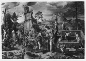 Rebekka laat Eliëzer uit haar kruik drinken bij de bron (Genesis 24:46)