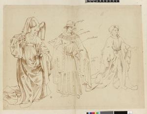 Studie van een vrouw en twee mannen