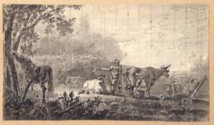 Landschap met melkende boeren