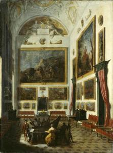 Spinetspeelster in een interieur met schilderijen