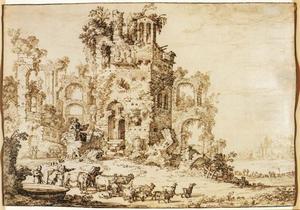 Klassieke ruïnes met herders en vee