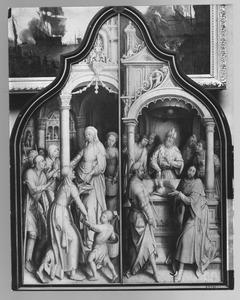 De H. Anna deelt aalmoezen uit (links); Het offer van Joachim (rechts)