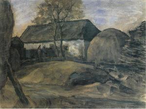 Brabant farm building with haystacks