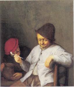 Twee mannen rokend en drinkend