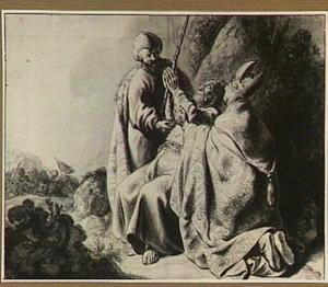 Mozes tijdens de slag tegen de Amalekieten (Exodus 17:11-12)