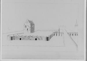 De opgegraven fundamenten van het slot Vreeland bij Loenen