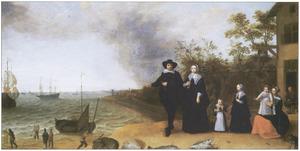 Strandgezicht met een familieportret