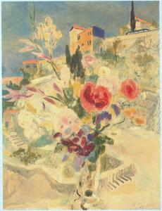 Boeket bloemen in vaas in mediterraan landschap