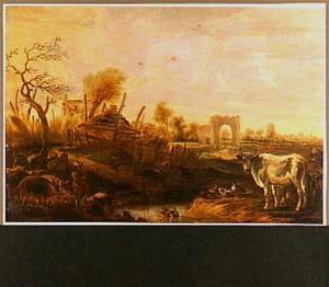 Landschap met koeien, eenden en een kudde varkens bij een boerderij