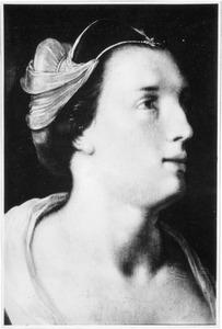 Portretje van een vrouw, opkijkend naar rechts, à l'antique met een Romeinse sluier