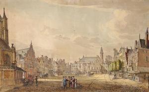 Grote Markt in Haarlem naar het stadhuis te zien