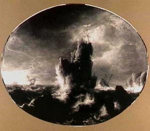 Schepen in een storm bij een rotskust