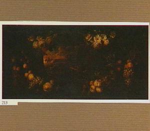 Cartouche met kransen van bloemen en fruit rond een landschap met reizigers