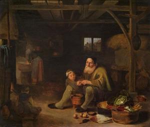 Boereninterieur met oude man die voedsel klaarmaakt