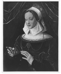Jonge vrouw, lezend in een getijdenboek