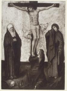 Christus aan het kruis geflankeerd  door H. Maria en de apostel Johannes; aan de voeten van het kruis Maria Magdalena