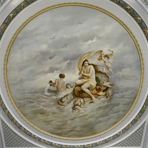 Venus in haar voertuig getrokken door dolfijnen