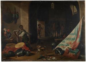 Wachtlokaal met een zwarte bediende bij een stilleven van een zadel, een vaandel, trommels en kurassen.