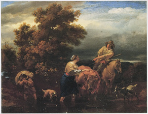 Zuidelijk landschap met herder en herderin door een rivier wadend