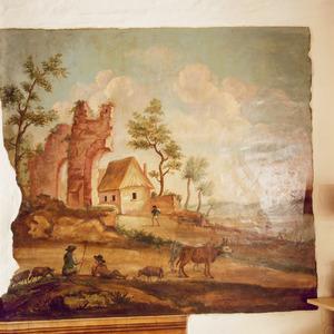 Landschap met ruïne en herders