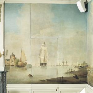 Hollands waterlandschap met zeilschip en burcht